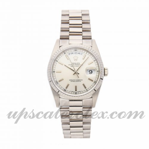 Mens Rolex Day-date 18239 36mm Case Mechanical (Automatic) Movement Silver Dial