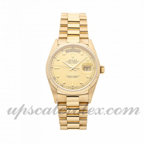 Mens Rolex Day-date 18038 36mm Case Mechanical (Automatic) Movement Champagne Dial