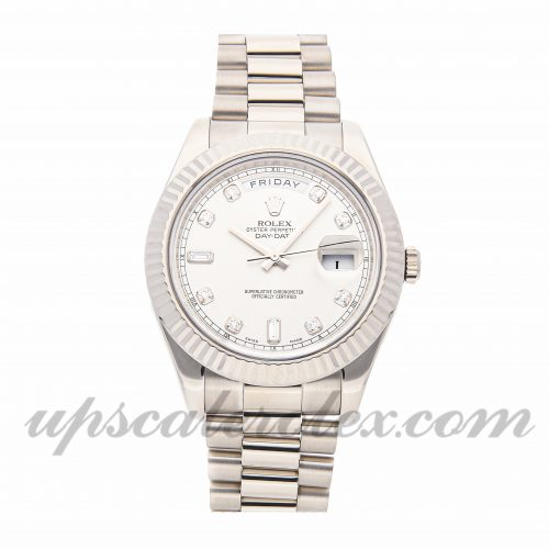 Mens Rolex Day-date Ii 218239 41mm Case Mechanical (Automatic) Movement Silver Dial