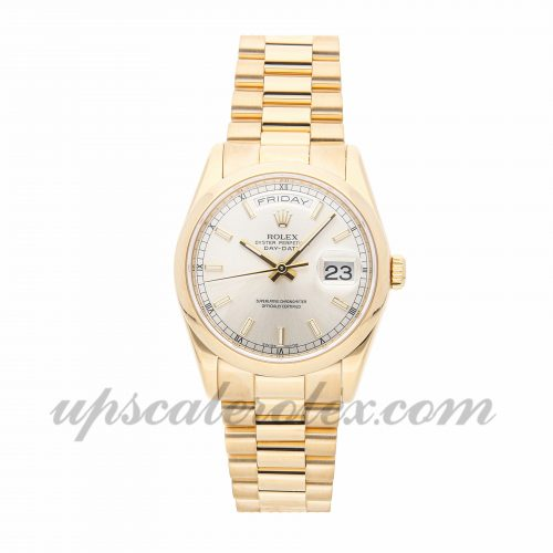 Mens Rolex Day-date 118208 36mm Case Mechanical (Automatic) Movement Silver Dial