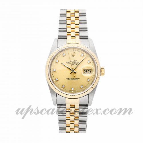 Mens Rolex Datejust 16233 36mm Case Mechanical (Automatic) Movement Champagne Dial
