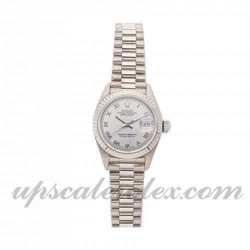 Ladies Rolex Datejust 69139 26mm Case Mechanical (Automatic) Movement Rhodium Dial