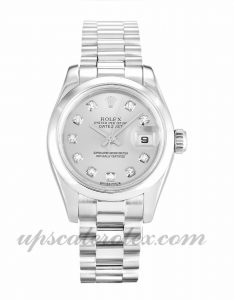 Ladies Rolex Datejust Lady 179166 26 MM Case Automatic Movement Silver Diamond Dial