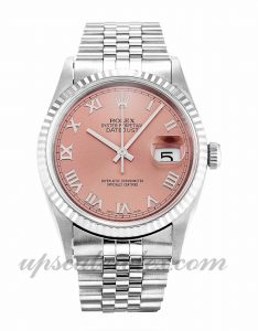 Mens Rolex Datejust 16234 36 MM Case Automatic Movement Pink Dial