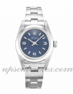 Ladies Rolex Lady Oyster Perpetual 76080 24 MM Case Automatic Movement Blue Quarter Dial