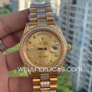 Man Rolex Day-Date Automatic Movement 41MM Case 316 Grade Stainless Steel Gold Dail