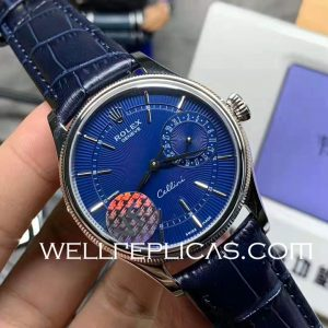 Rolex Cellini Automatic Movement Sapphire Glass Cortex Belt Blue Dial Safety Clasp