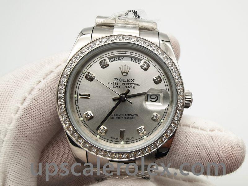 Rolex Day-date 118346 Silver Gray Diamonds 36 mm Automatic Watch