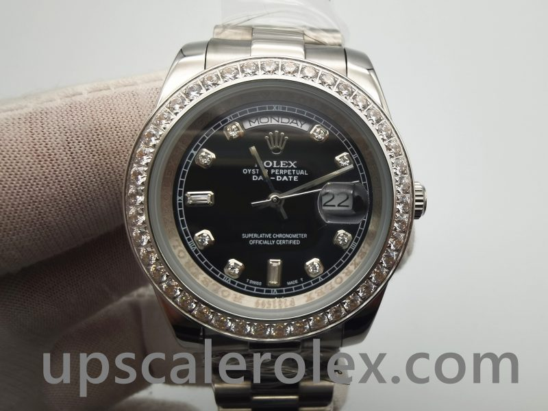 Rolex Day-Date 218349 Mens Black 41 Mm With Diamonds Automatic Watch