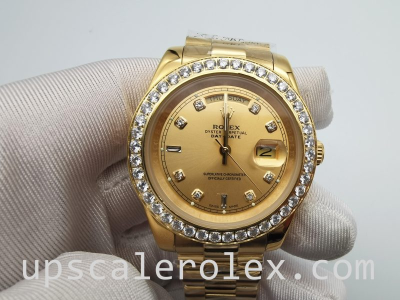 Rolex Day-Date 128348rbr Gold With Diamonds 36 mm Automatic Watch