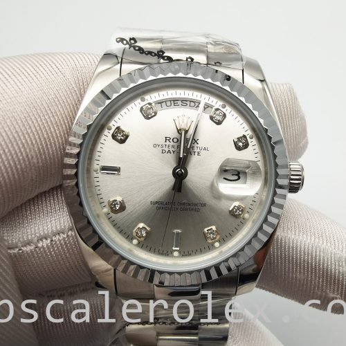 Rolex Day-Date 128239 Mens 36mm Automatic Diamond Dial Silver Dial Watch