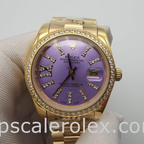 Rolex Datejust 278384 Ladies Purple With Diamonds Automatic Watch