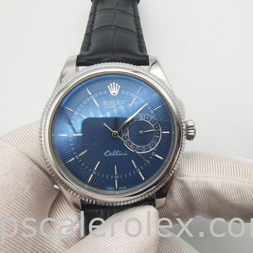 Rolex Cellini Date 50519 Mens 39mm Blue Steel Automatic Watch