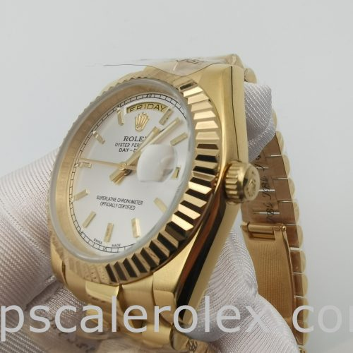 Rolex Day-Date 18238 Yellow Gold 36mm Mens Automatic Silver Dial Watch