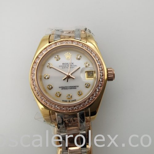 Rolex Datejust 80299 Ladies 18k Gold Automatic 29mm White Dial Watch